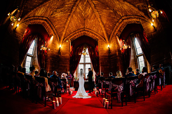 The Hexagonal Room at Peckforton Castle during a ceremony
