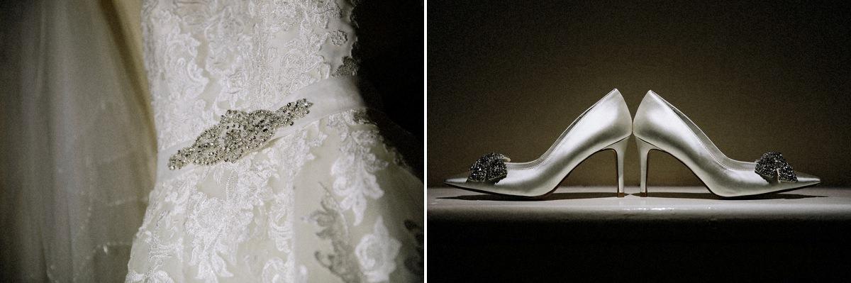 Wedding dress and wedding bridal shoes