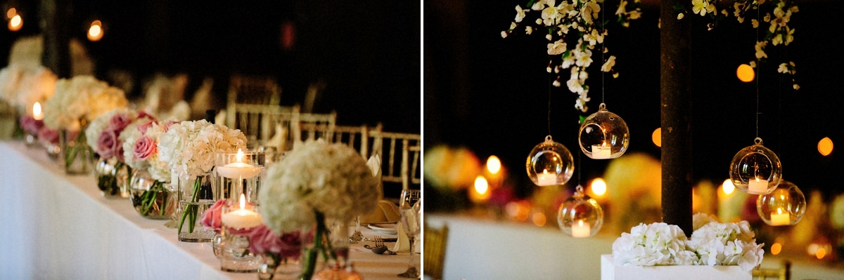 Floral displays and candles in the dining room at Peckforton Castle