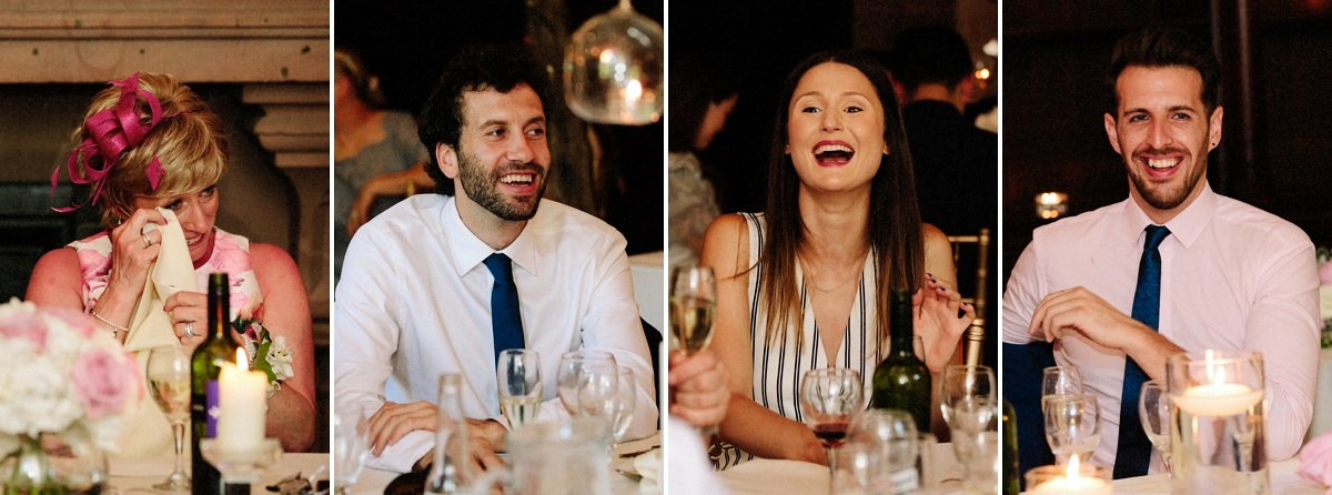 Natural moments of the wedding guests laughing during the speeches