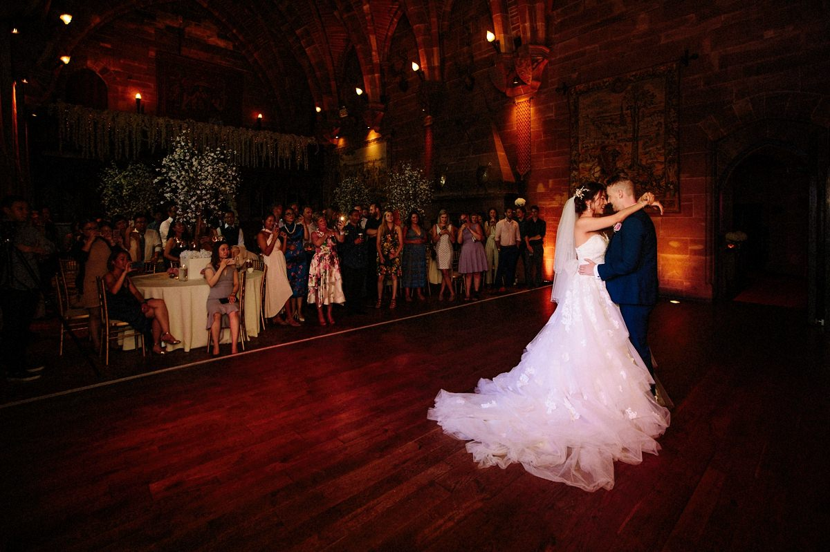 Bride and groom first dance at Peckforton Castle in the Great Hall
