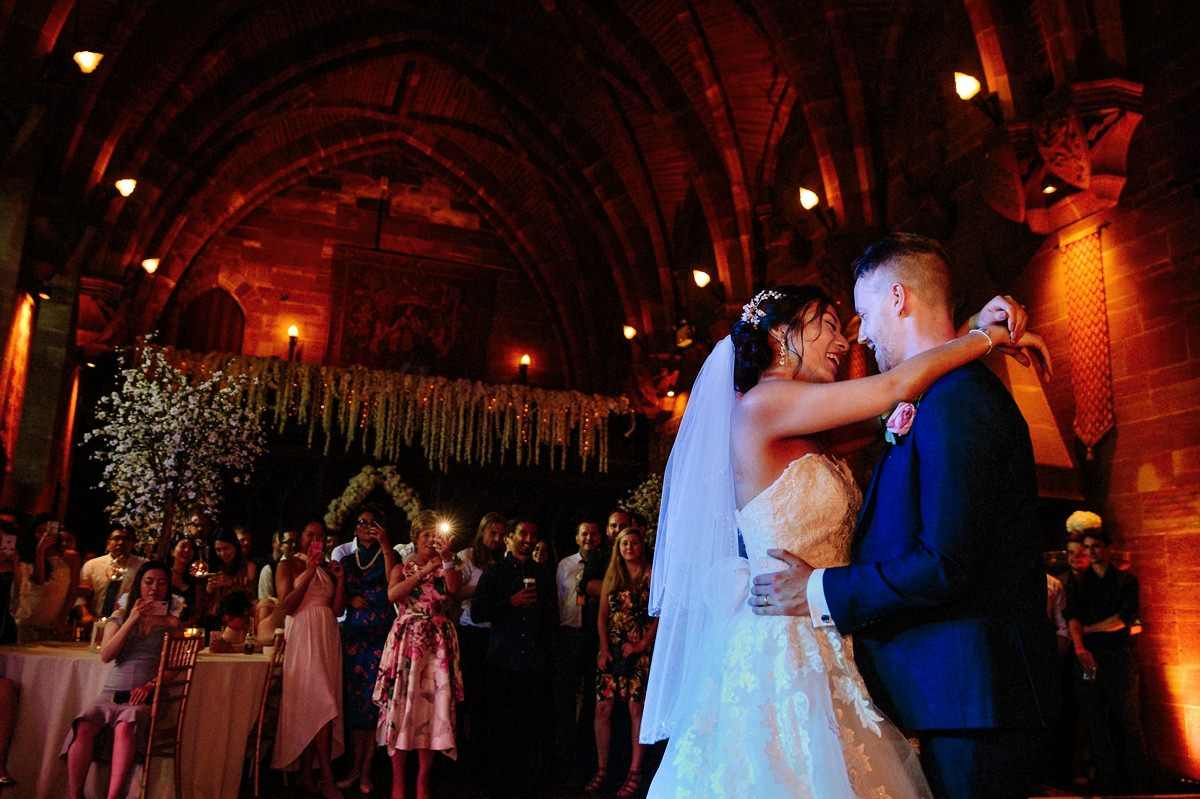 Bride and groom intimate first dance moment