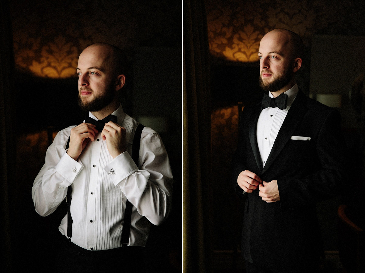Groom getting ready before the wedding ceremony