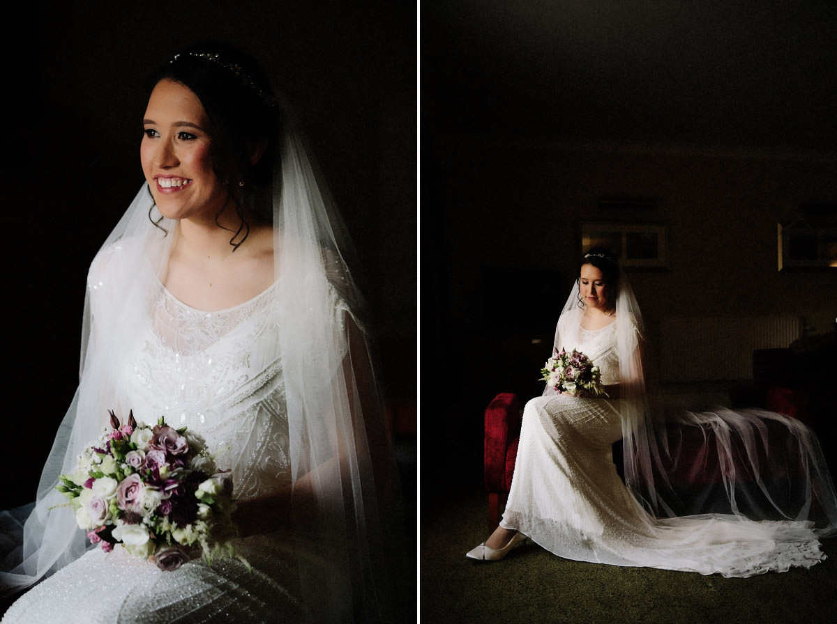 Bride in her wedding dress before getting married at Arley Hall