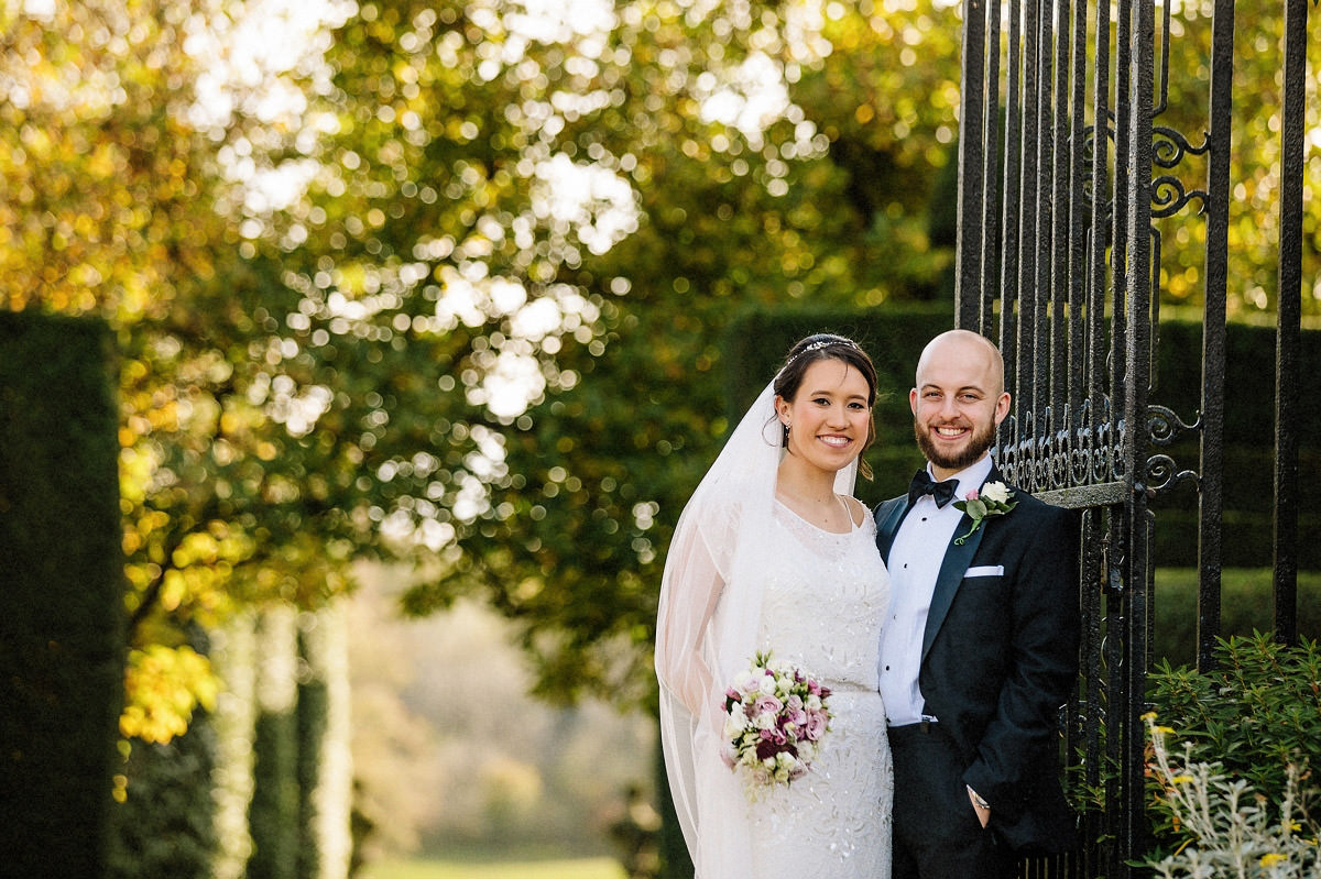 Bride and groom at Arley Hall and gardens