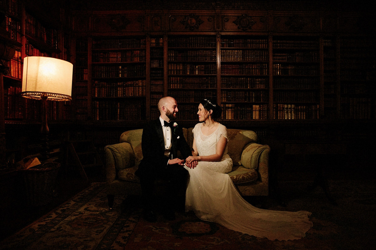 Bride and Groom inside the Library at Arley Hall