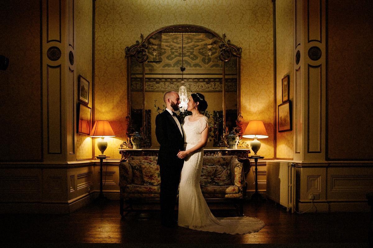 Bride and Groom inside the elegant Arley Hall