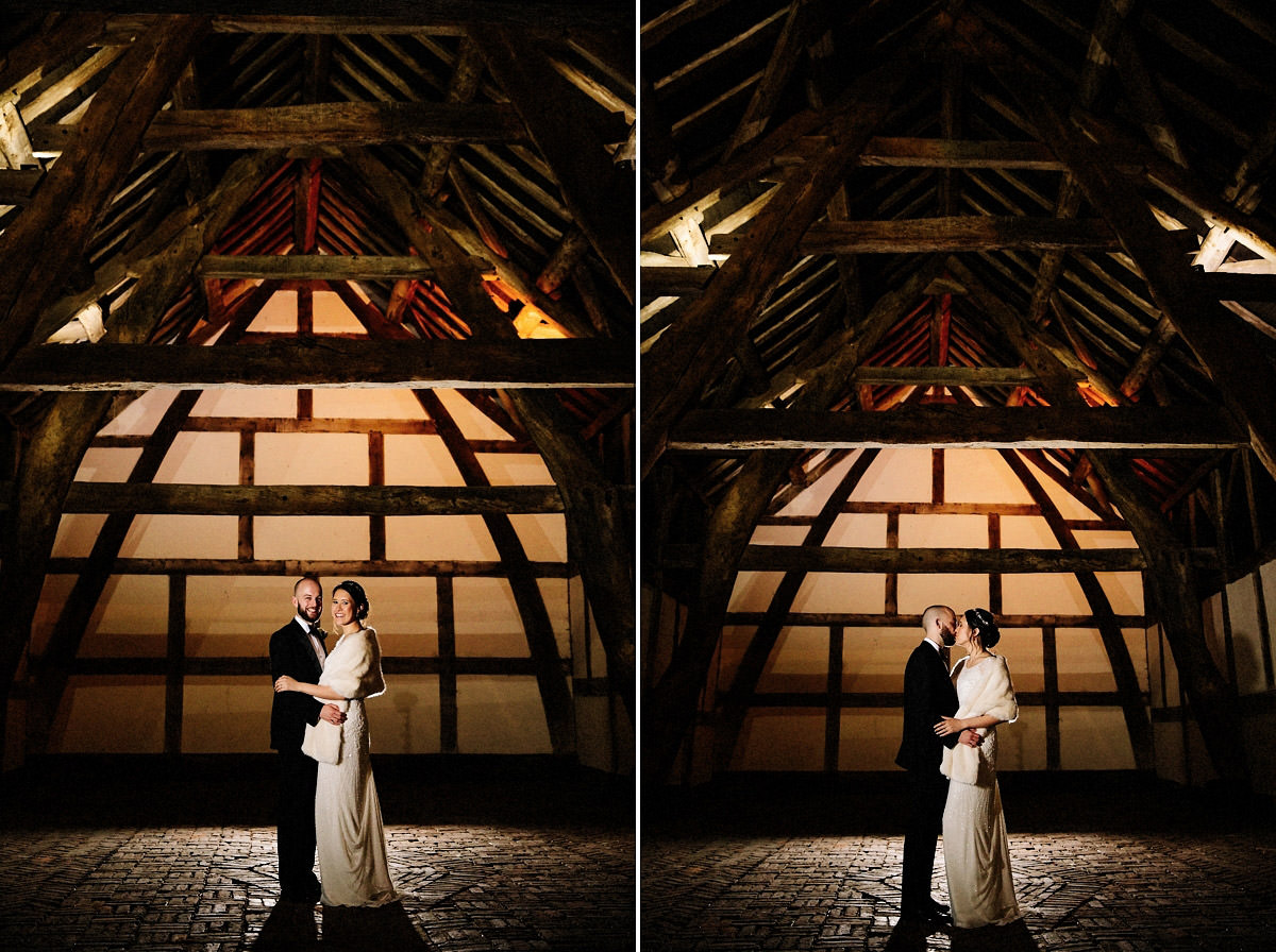 Bride and Groom inside the Cruck Barn at Arley Hall